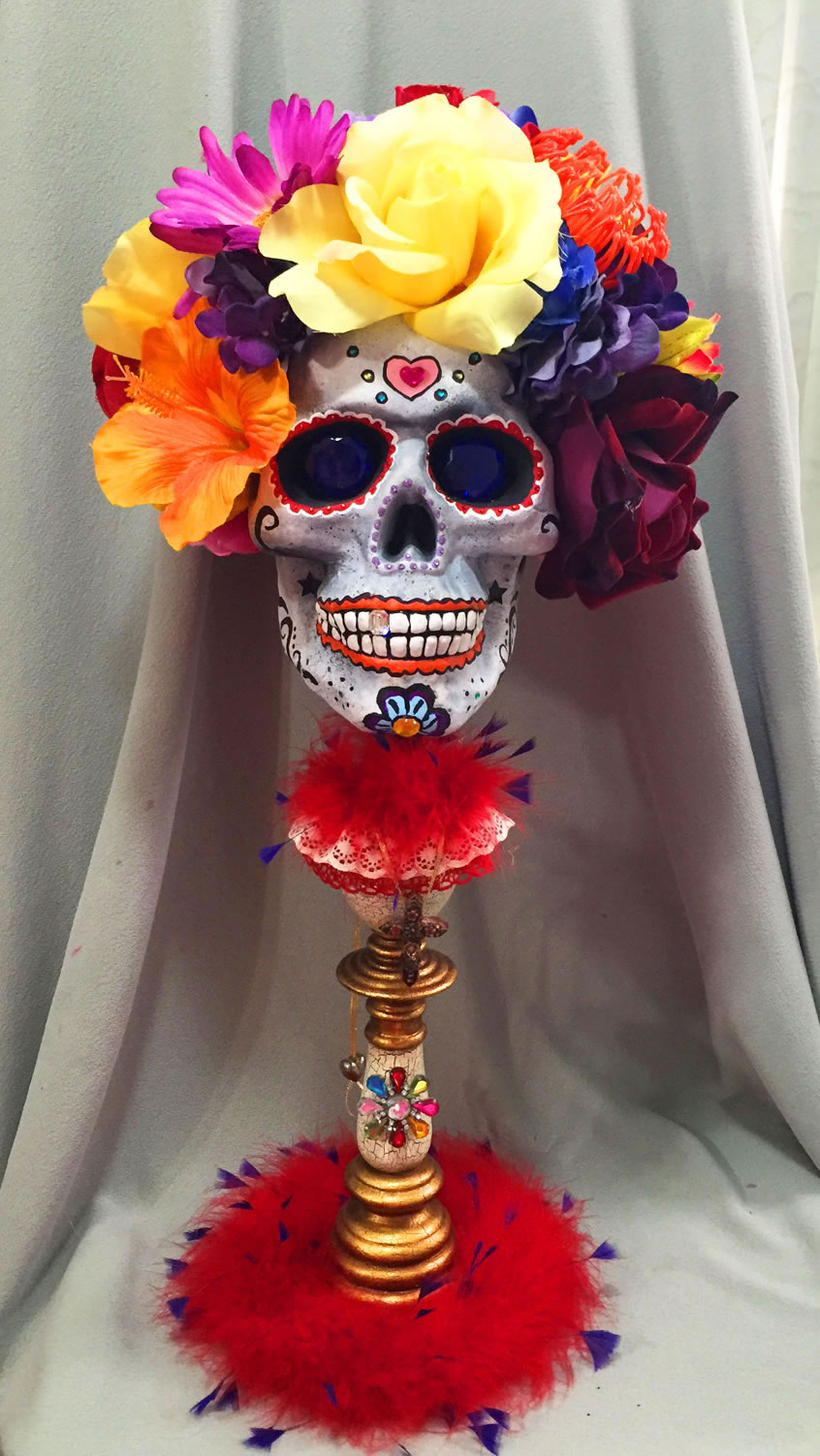 perfectly dreadful halloween shabby Chic vintage day of the dead skul